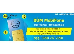 Sim BÙM Mobi | Gọi Miễn Phí Các Mạng + Tặng 1,5 GB/ tháng - Chỉ 399K