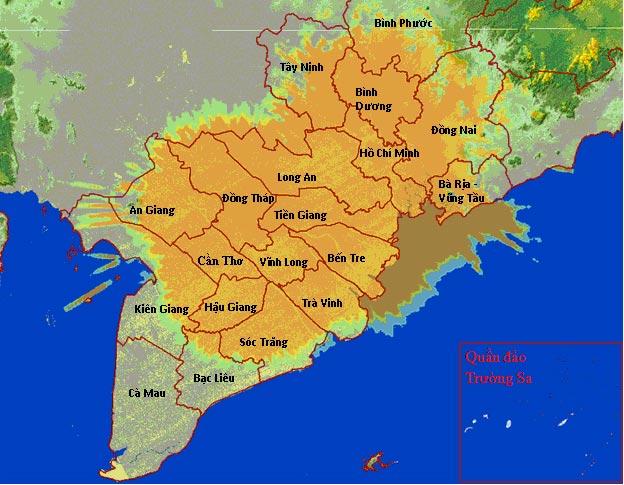 Bản đồ phủ sóng MobiTV Miền Nam